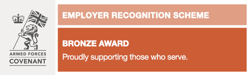 Armed Forces Covenant Employer Recognition Scheme Bronze Award Proudly supporting those who serve.